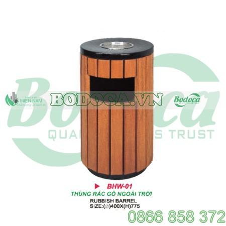 Thùng rác gỗ tròn BHW-01 để ngoài trời