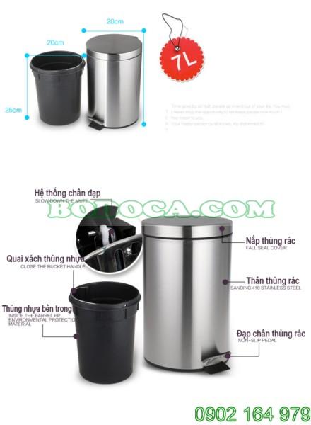 Thùng rác inox Bodoca 7L