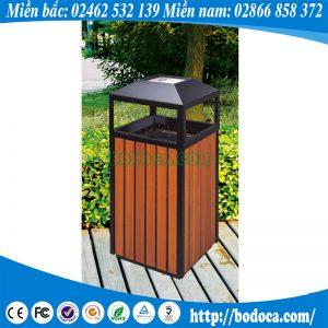 Thùng rác gỗ công viên HW-04