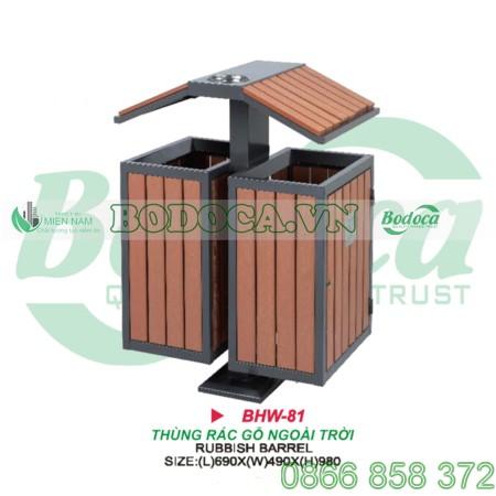 Thùng rác gỗ ngoài trời có mái che BHW-81
