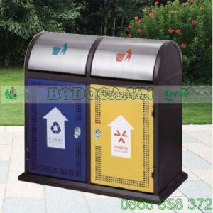 Thùng rác 2 ngăn thép phun sơn HW-72