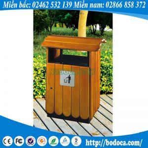 Thùng rác gỗ có mái che BHW-76