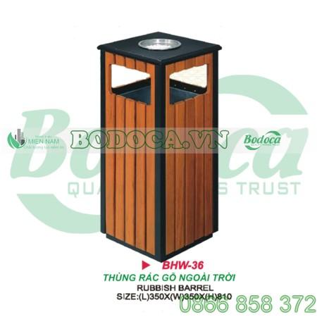 Thùng rác gỗ công nghiệp ngoài trời HW-36