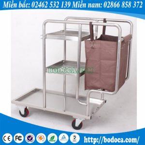 Xe đẩy dọn phục vụ vệ sinh đa năng 3 tầng inox